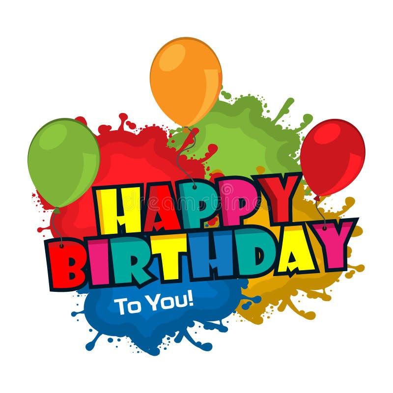 Feliz cumpleaños tipografía colorida, diseño plano, vector para la web, juego, cartel creativo, folleto, prospecto, aviador, revi stock de ilustración