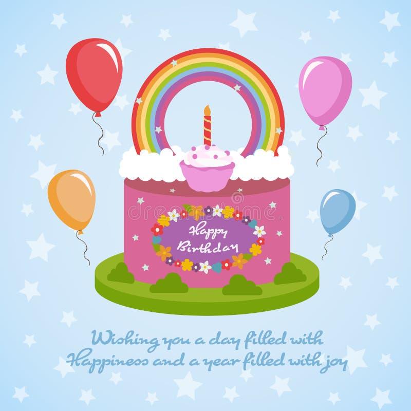Feliz cumpleaños - torta y flores, globo del desmoche del clude del arco iris en fondo de la estrella azul libre illustration