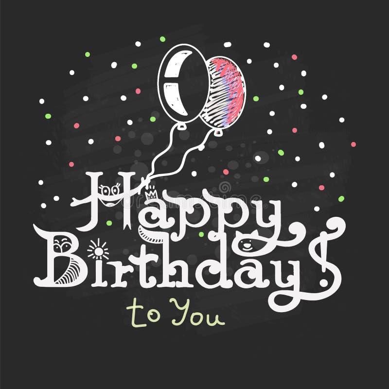 ¡Feliz cumpleaños! Una mano escrita tiza de las letras de la tiza en un negro stock de ilustración