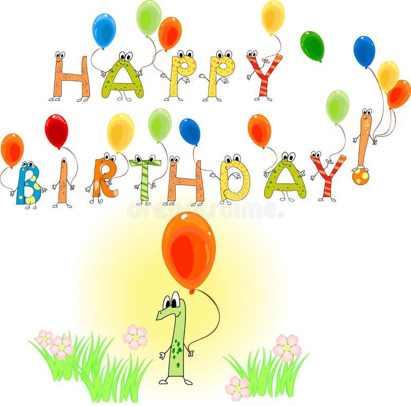 Feliz cumpleaños uno ilustración del vector
