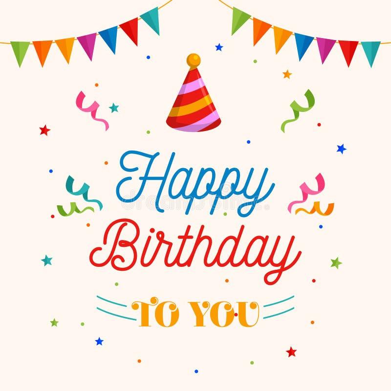 Feliz cumpleaños vector de la tarjeta de felicitación Vaya de fiesta el ejemplo del sombrero con el ornamento de la bandera y del ilustración del vector