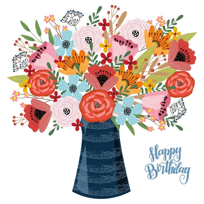 Feliz cumplea?os Concepto de diseño floral del drenaje de la mano, florero con las flores en un fondo blanco, vector stock de ilustración