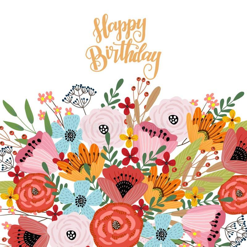 Feliz cumplea?os Plantilla de la postal con la mano linda que dibuja el ramo brillante de flores en un fondo blanco, vector stock de ilustración
