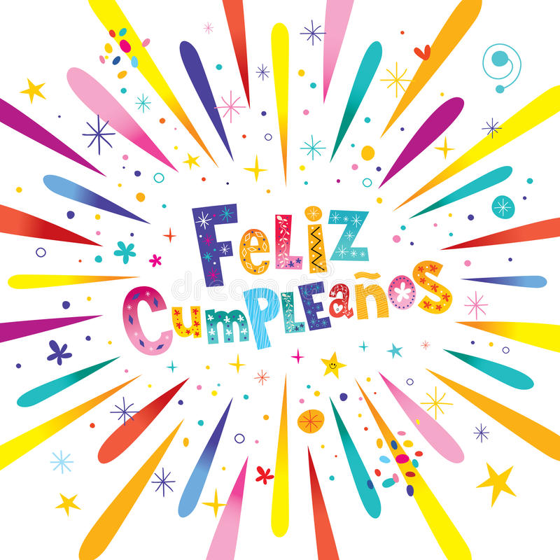 Feliz Cumpleanos生日快乐用西班牙语 向量例证