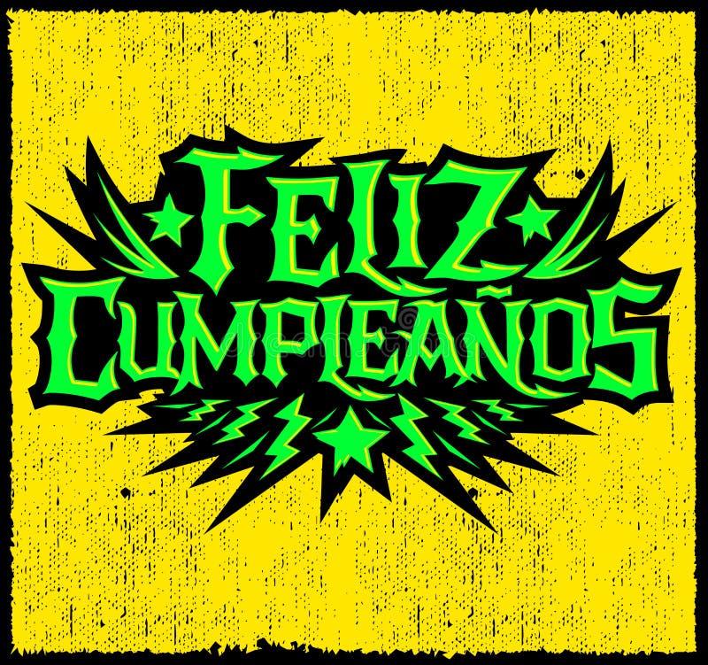 Feliz Cumpleanos,生日快乐西班牙文本,导航中坚分子的庞克摇滚乐样式字法 皇族释放例证