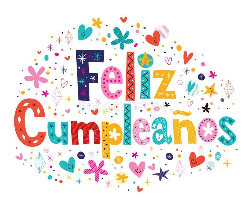 Feliz Cumpleanos - с днем рождения в испанском тексте иллюстрация штока