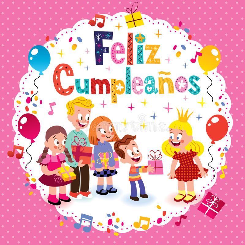 Feliz Cumpleanos -在西班牙孩子卡片的生日快乐 皇族释放例证