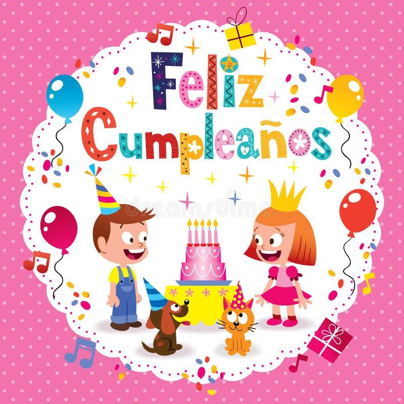 Feliz Cumpleanos -在西班牙孩子卡片的生日快乐 库存例证