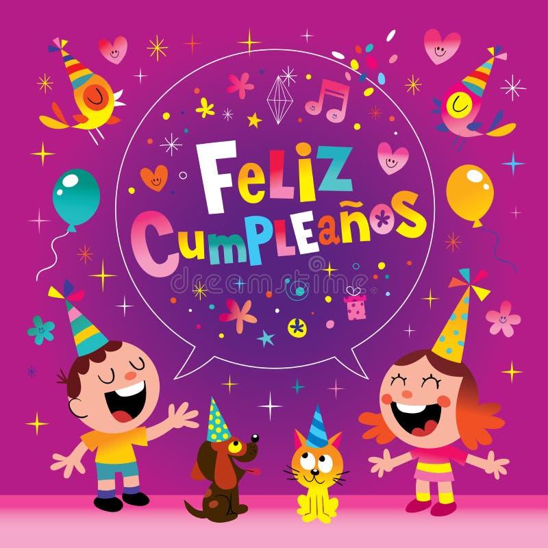 Feliz Cumpleanos -在西班牙孩子的生日快乐 库存例证