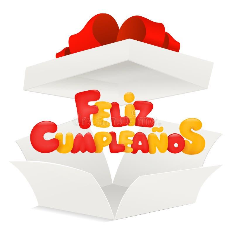 Feliz Cumpleanos - feliz cumpleaños en tarjeta de felicitación española con la caja abierta stock de ilustración