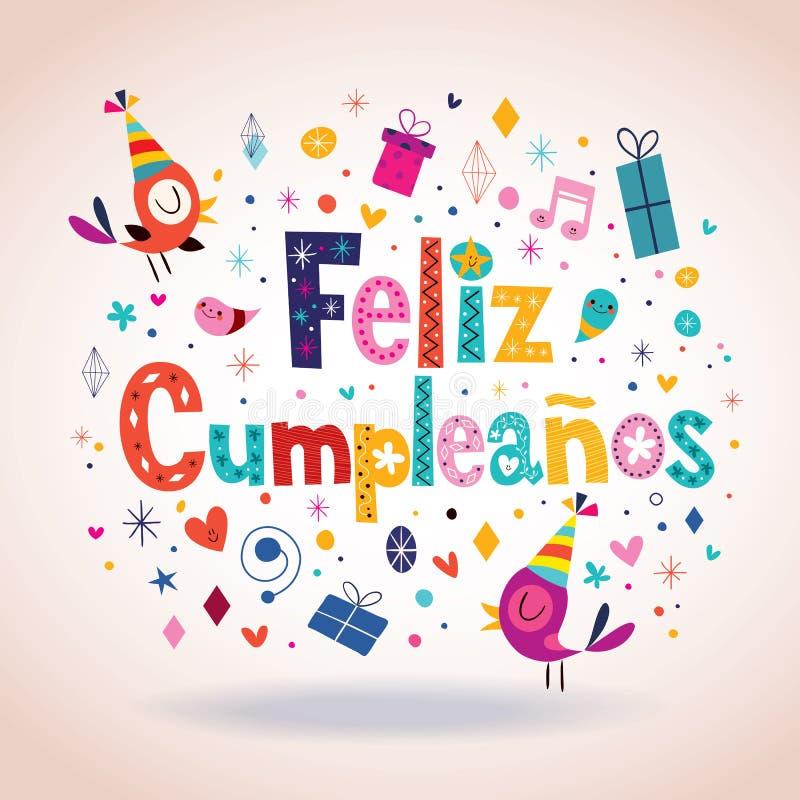 Feliz Cumpleanos - Gelukkige Verjaardag in Spaanse kaart royalty-vrije illustratie