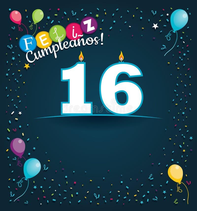 Feliz Cumpleanos 16 - Gelukkige Verjaardag 16 in Spaanse taal - Groetkaart met witte kaarsen royalty-vrije illustratie