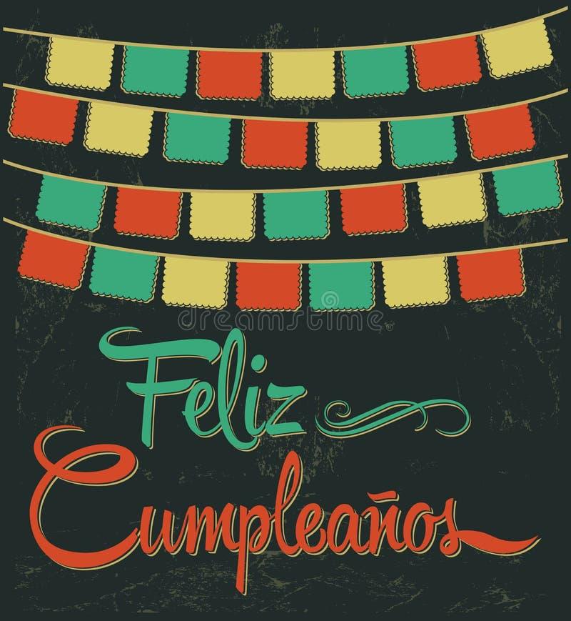 Feliz Cumpleanos - gelukkige verjaardags Spaanse tekst royalty-vrije illustratie