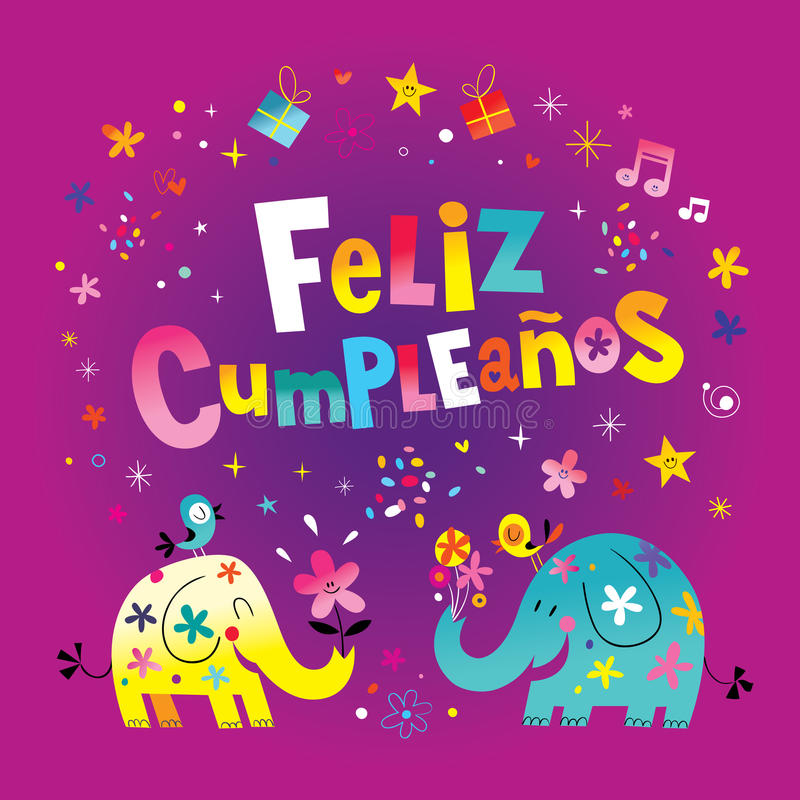 Feliz Cumpleanos Happy Birthday in Spanish greeting card. With cute elephants stock illustration