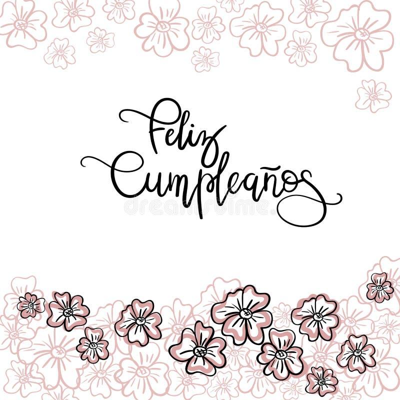 Feliz Cumpleanos Happy Birthday Spanish Text. Stock Vector ...