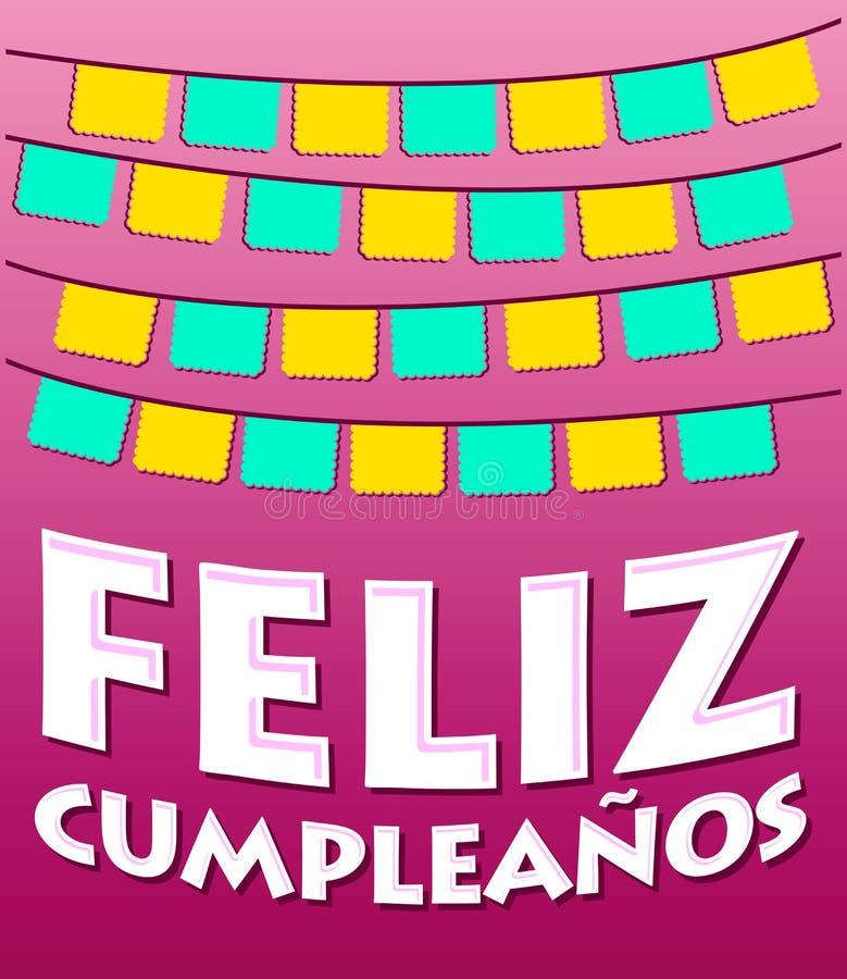Feliz Cumpleanos - texto del español del feliz cumpleaños ilustración del vector
