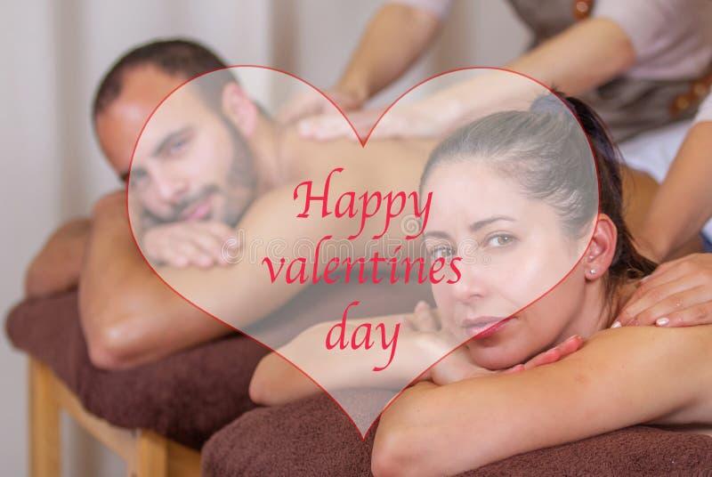 Feliz día de San Valentín celebrando el spa fotos de archivo