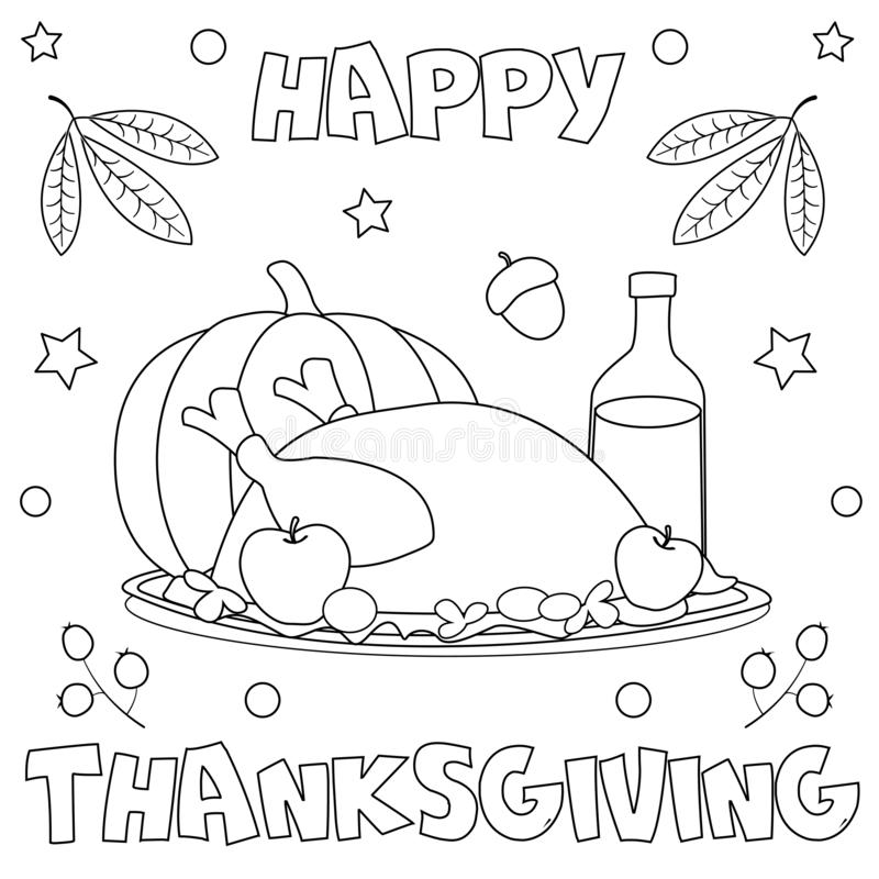 ` Feliz da ação de graças do ` da página da coloração ilustração royalty free