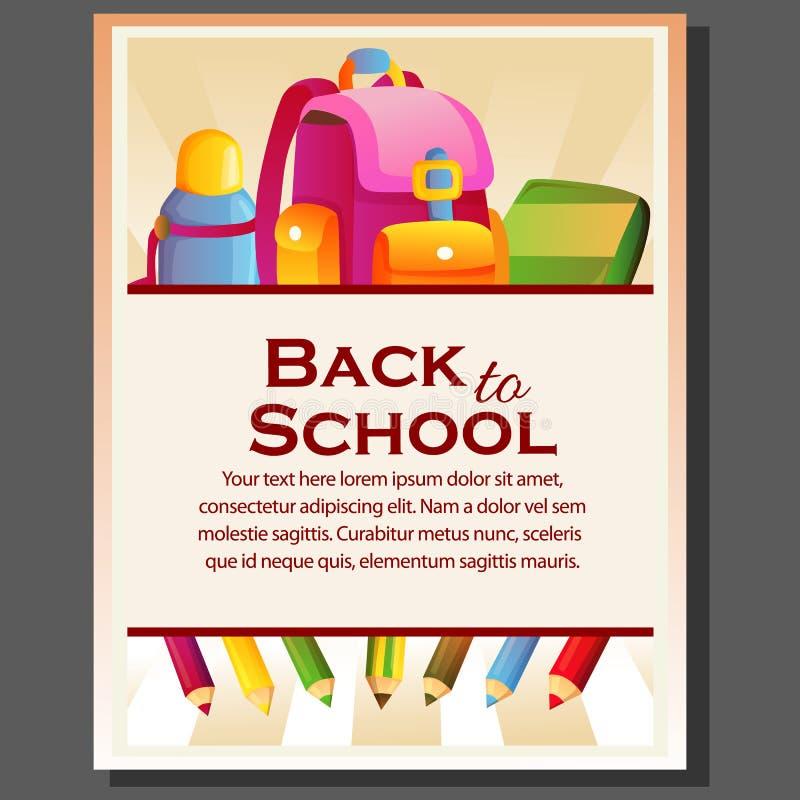 Feliz de nuevo al cartel de la escuela con todo inmóvil stock de ilustración