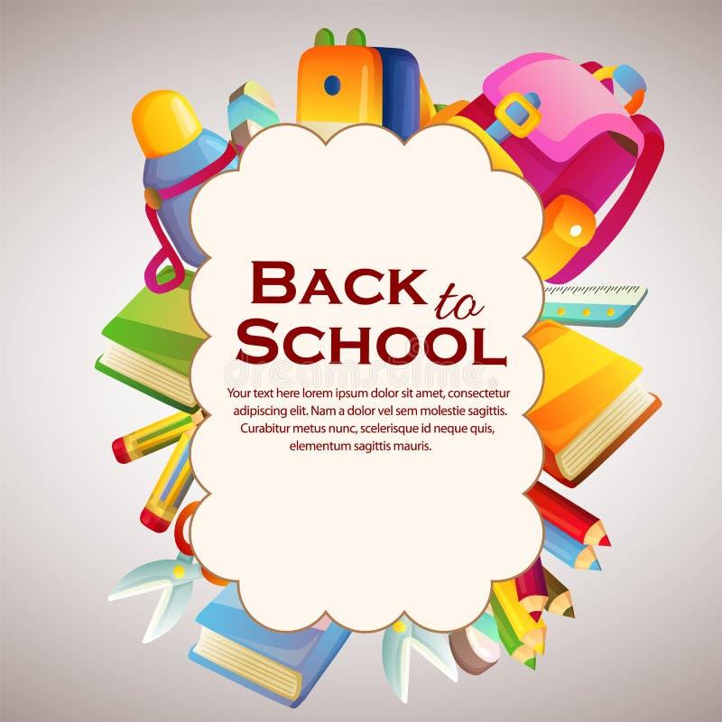 Feliz de nuevo a la nube de la escuela con inmóvil libre illustration