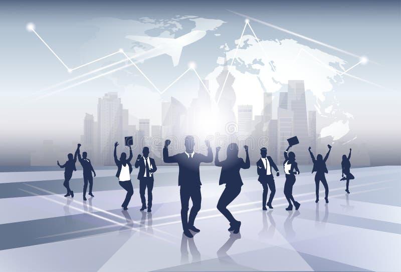 Feliz de Team Silhouette Businesspeople Group Cheerful del negocio aumentado entrega concepto del vuelo del viaje del mapa del mu libre illustration
