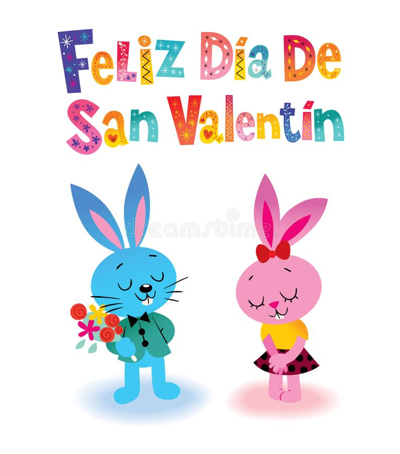 Feliz dia de圣Valentin愉快的情人节用西班牙语 库存例证