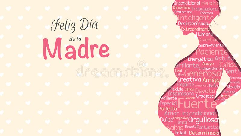 Feliz Dia de la Madre - Happy Mother`s Day in Spanish language - greeting card. Pink silhouette of pregnant woman. With a cloud of words inside on a yellow stock illustration