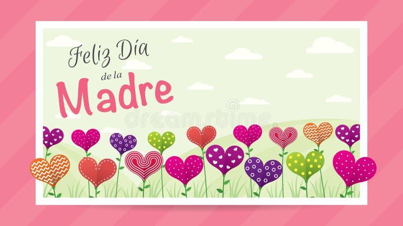 Feliz Dia de la Madre - jour heureux du ` s de mère dans la langue espagnole - carte de voeux Champ des fleurs sous forme de coeu illustration stock