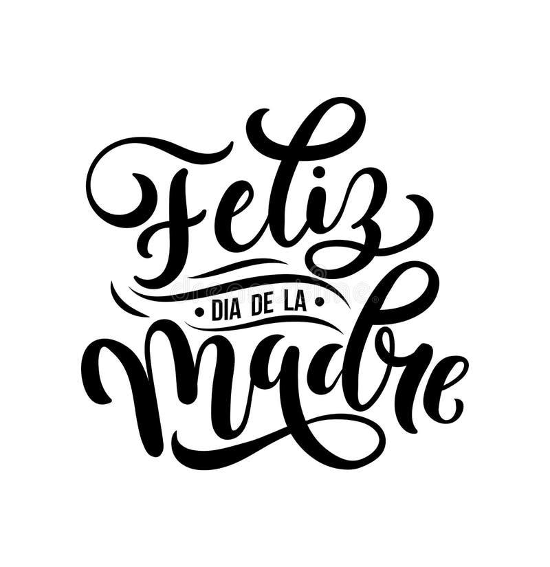 Feliz dia de la Madre Mutter-Tagesgrußkarte auf spanisch Hand vektor abbildung