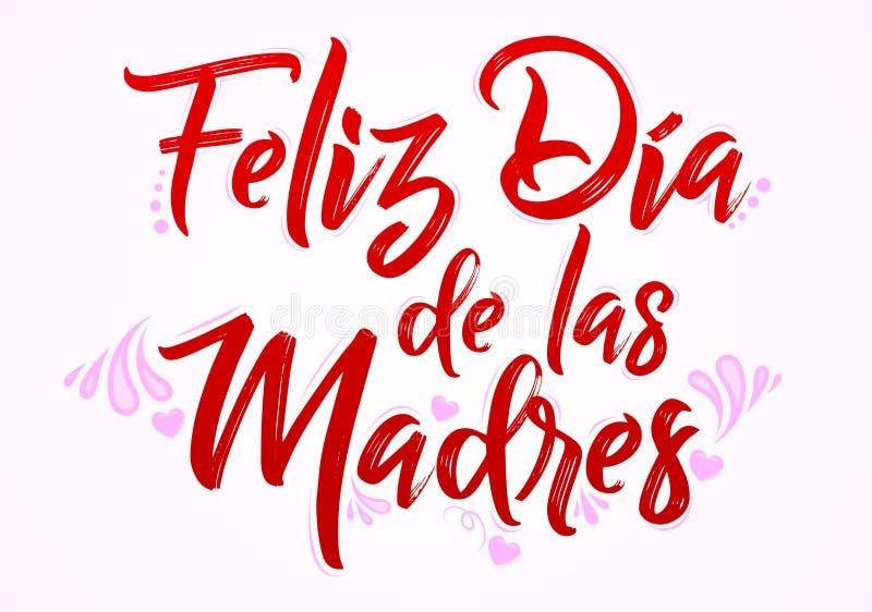 Feliz Dia De Las Madres, Szczęśliwa matka dnia hiszpańska przekładowa wiadomość ilustracja wektor