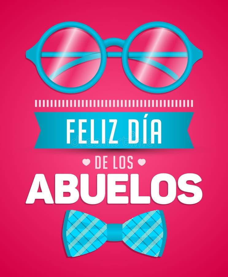 Feliz dia de los abuelos, español feliz del día de los abuelos manda un SMS ilustración del vector
