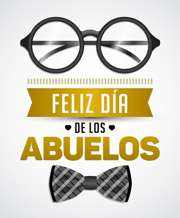 Feliz dia de los abuelos, español feliz del día de los abuelos manda un SMS stock de ilustración