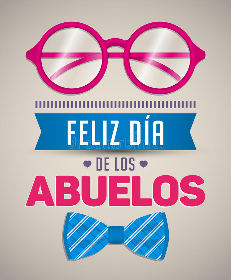 Feliz dia de los abuelos, Happy grandparents day spanish text vector illustration