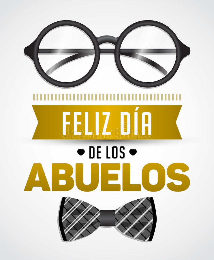 Feliz dia de los abuelos, Happy grandparents day spanish text stock illustration