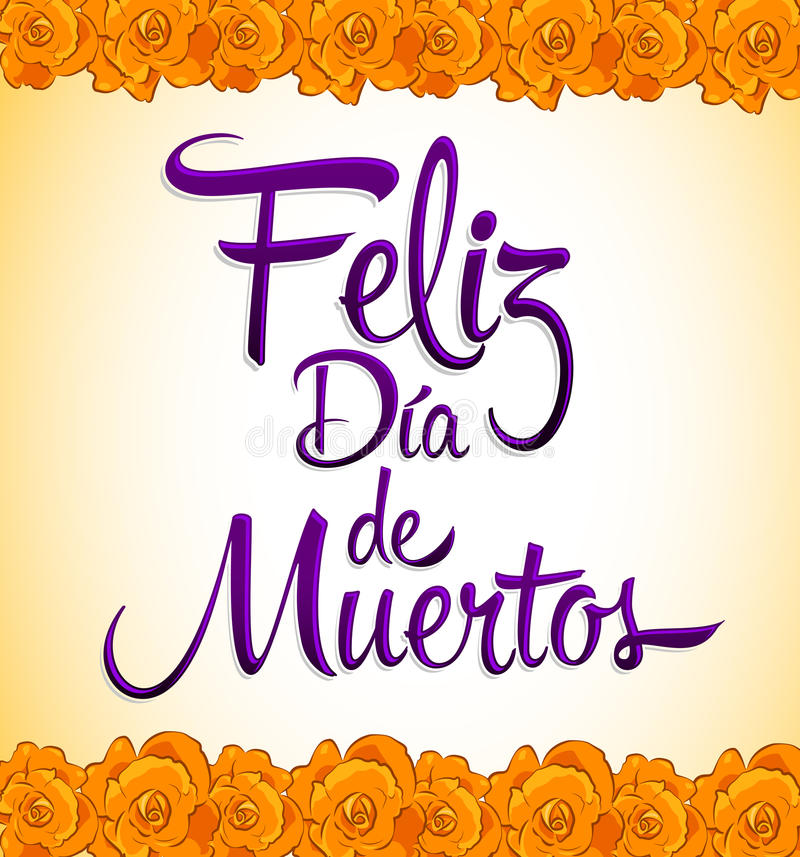 Feliz dia de muertos - Happy day of the death spanish text. Print Flower - eps available stock illustration