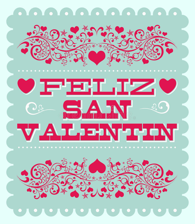 Feliz Dia de SAN Valentin - ευτυχές ισπανικό κείμενο ημέρας βαλεντίνων απεικόνιση αποθεμάτων