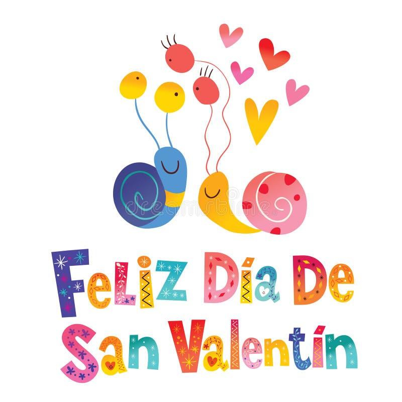Feliz dia de San Valentin Happy Valentines Day in Spanish. Greeting card stock illustration
