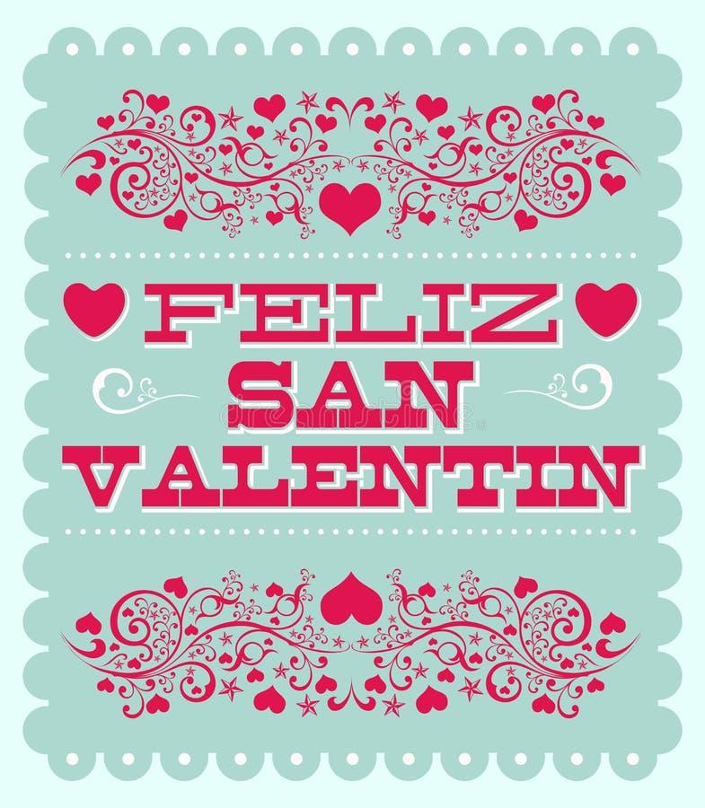 Feliz Dia de San Valentin - lycklig text för valentindagspanjor stock illustrationer