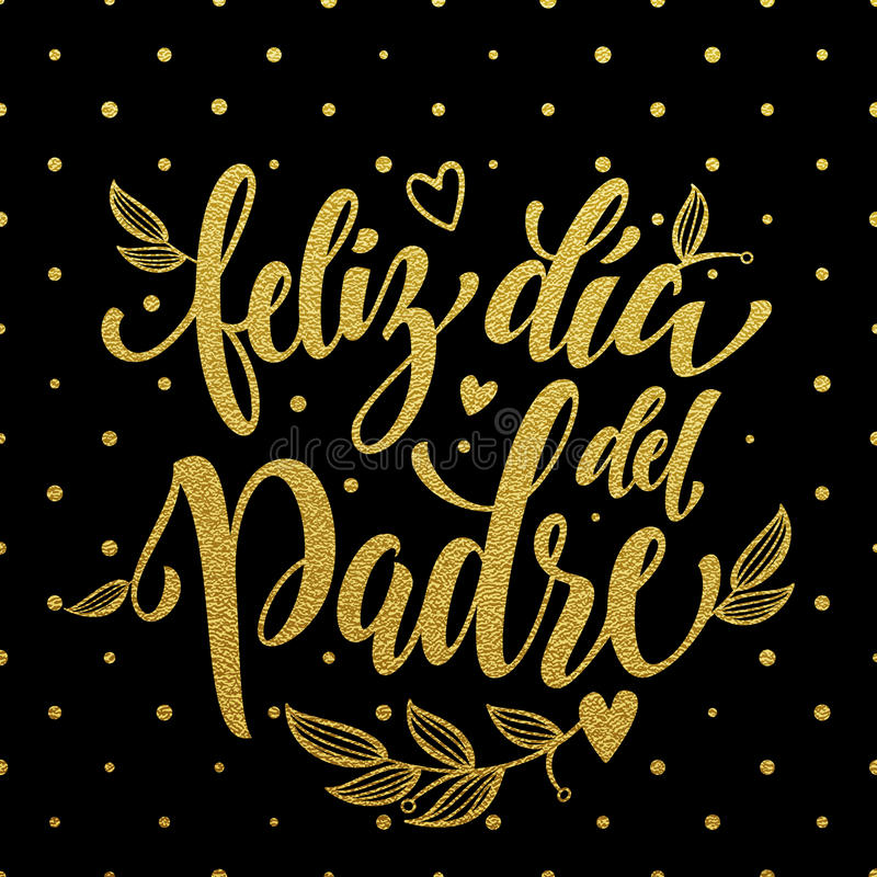 Feliz Dia del Padre父亲节贺卡用西班牙语 皇族释放例证