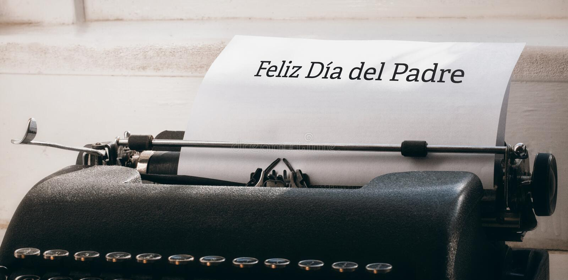 Feliz dia Del padre geschrieben auf Papier stockfoto