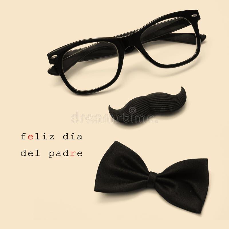 Feliz dia Del padre, glücklicher Vatertag geschrieben auf spanisch lizenzfreie stockbilder