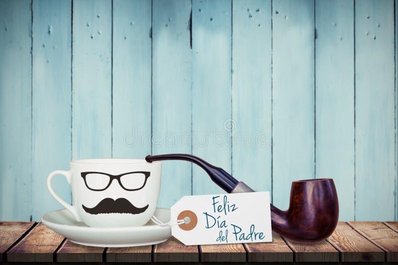 Feliz dia del padre message. In front of mug royalty free stock image