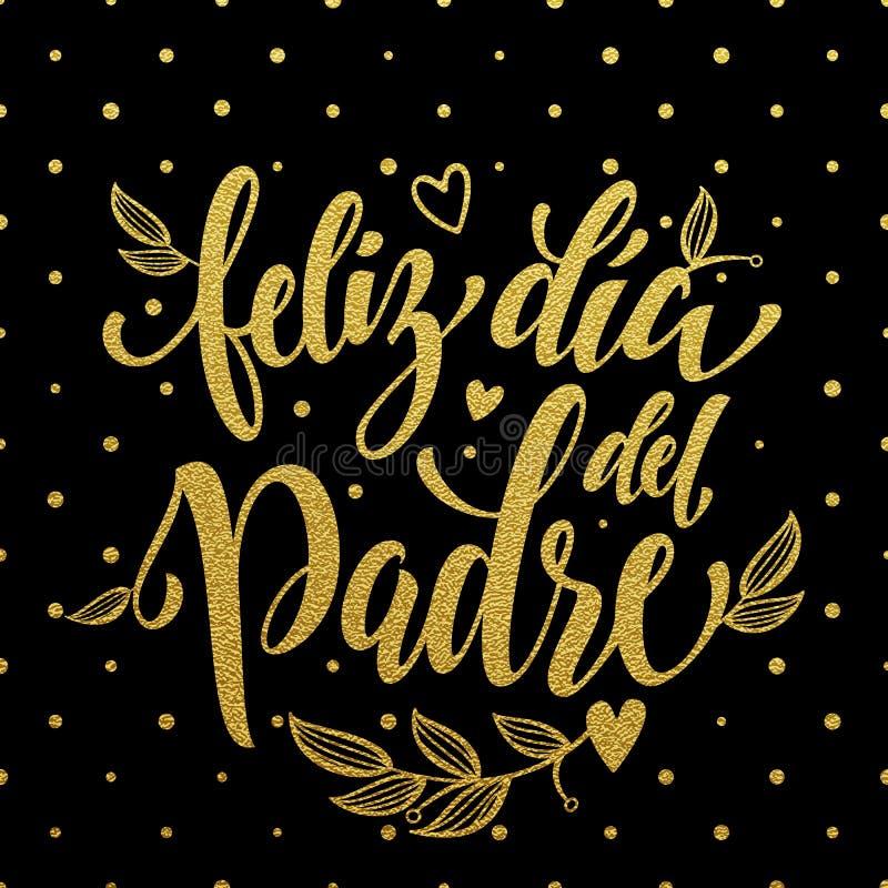 Feliz Dia Del Padre ojca dnia kartka z pozdrowieniami w hiszpańszczyznach royalty ilustracja