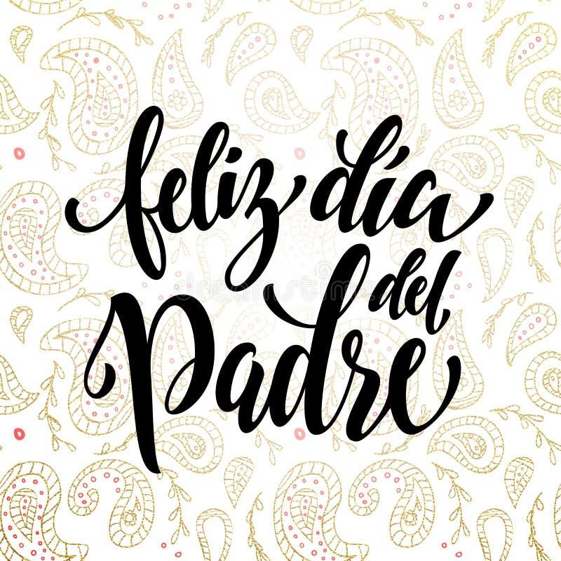Feliz Dia Del Padre ojca dnia kartka z pozdrowieniami w hiszpańszczyznach ilustracji