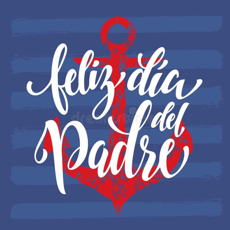 Feliz Dia Del Padre ojca dnia kartka z pozdrowieniami w hiszpańszczyznach ilustracja wektor