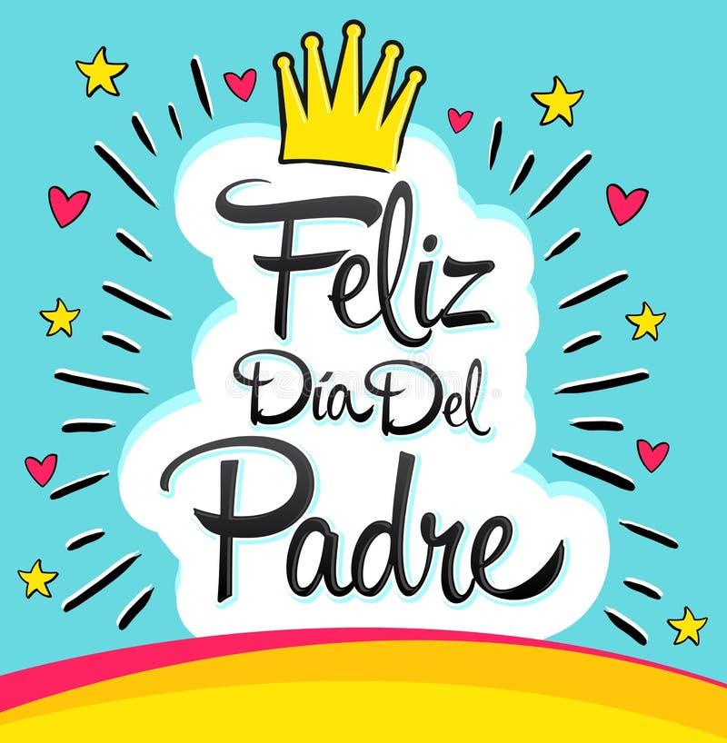 Feliz Dia Del Padre, Szczęśliwy ojca dnia hiszpański tekst ilustracji