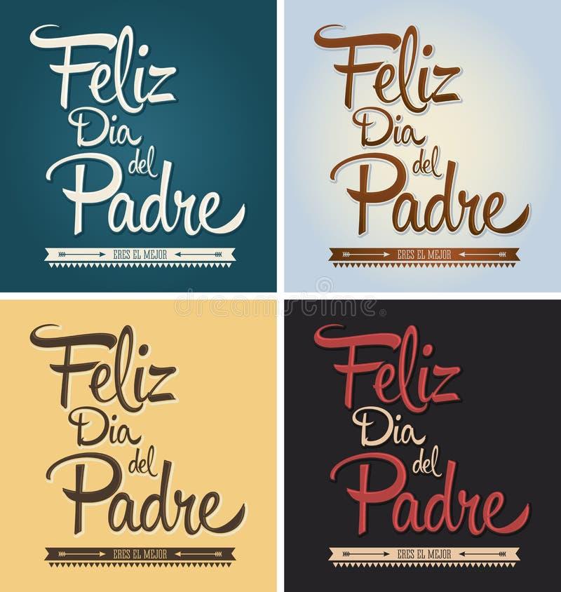 Feliz Dia Del Padre - szczęśliwy ojca dnia hiszpański tekst royalty ilustracja