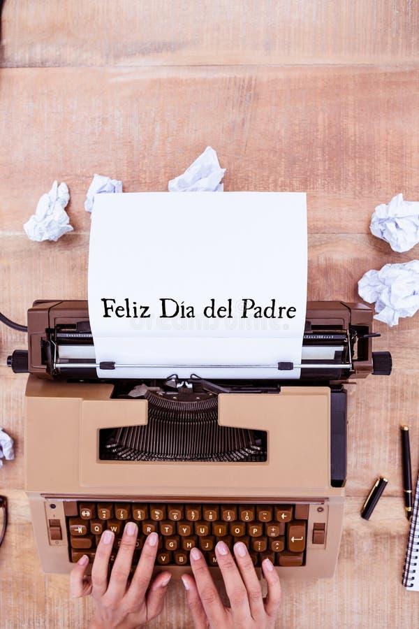 Feliz dia del padre written on paper. With typewriter stock photos
