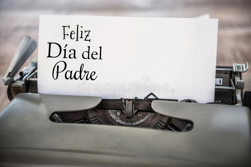 Feliz dia del padre written on paper. With typewriter stock image