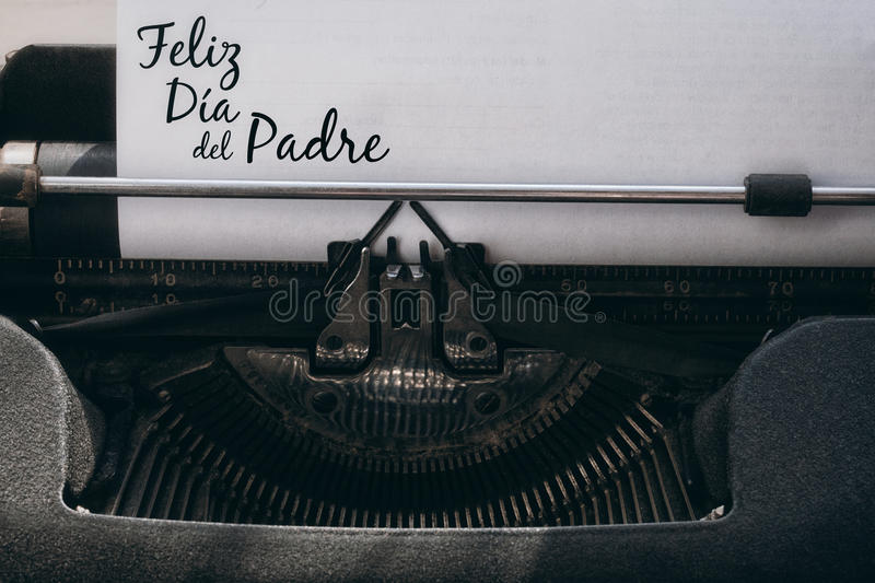 Feliz dia del padre written on paper. With typewriter royalty free stock photography
